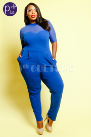 Plus Size Casual Sweetheart Pocket Mesh Jumpsuit