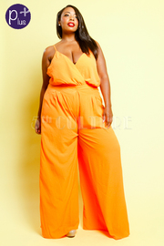 Plus Size Summer Surplice Palazzo Jumpsuit