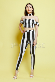 Striped 2-Piece Choker Sailor Sweetheart Pants Set