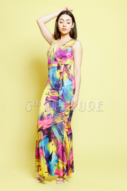 Multi-Colored Abstract Maxi Summer Dress