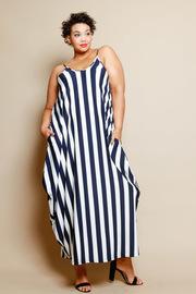 Plus Size Spaghetti Strap Striped Maxi Loose Dress