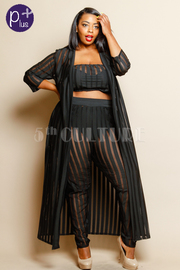 Plus Size Classy 3-Piece See Through Striped Bandeau Long Cardigan Pants Set