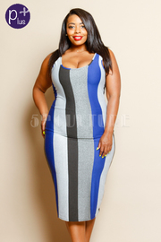 Plus Size Shimmer In Striped Colorblock Midi Dress