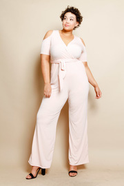 Plus Size Cold Shoulder Tie Waist Surplice Jumpsuit
