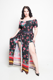 Plus Size Off Shoulder Floral Border Dancing Slit Maxi Romper Dress