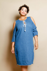 Plus Size Denim For Days 3/4 Sleeved Tie Up Cold Shoulder Dress