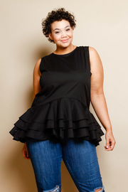 Plus Size Ruffled Layered Sleeveless Top