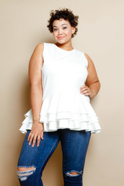 Plus Size Casual Sleeveless Ruffled Layered Top