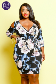 Plus Size Open Shoulder Floral Dress
