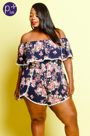 Plus Size Off Shoulder Overlap Mini Floral Romper