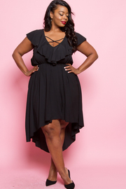 Plus Size Ruffled V-neck Tie Up Hi Lo Dress