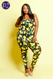 Plus Size Citrus Lemon Printed Jumpsuit