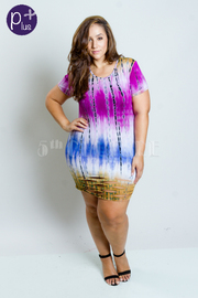 Plus Size Short Sleeved Tie Dye Mini Dress