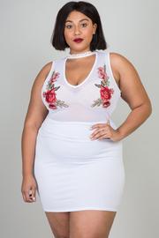Plus Size V-neck Floral Patch Mesh Tube Mini Dress