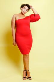 Plus Size One Shoulder Bubble 3/4 Sleeved Dress