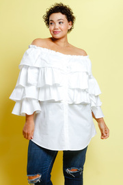 Plus Size Off Shoulder Casual Ruffled Layers Top
