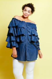 Plus Size Casual In Denim Ruffled Layered Off Shoulder Top
