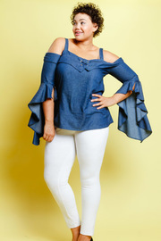 Plus Size Bell Sleeved Chambray Cold Shoulder Top