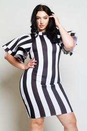 Plus Size Ruffled Sleeved Striped Bodycon Dress