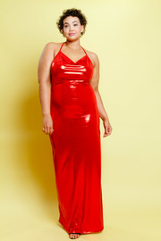 Plus Size In Love With Red Shiny Maxi Draped Dress