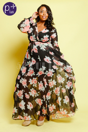 Plus Size Surplice Floral Spring Fashion Maxi Sheer Dress