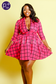 Plus Size Deep V Grid Fashion Skater Dress