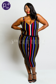Plus Size Sexy 2-Piece Stylish Striped Bodysuit Striped Midi Skirt Set