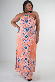 Plus Size Pretty In Aztec Printed Maxi Dress