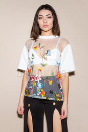 Short Sleeved Sheer Embroidery Floral Top