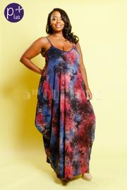 Plus Size Trendy Tie Dye Spaghetti Strap Maxi Dress