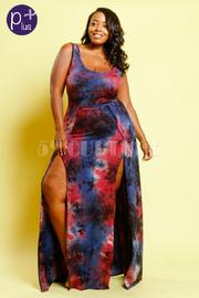 Plus Size Double Slit Maxi Tie Dye Dress