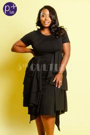 Plus Size Asymmetrical Ruffled Midi Trendy Dress