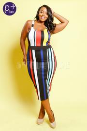 Plus Size Fashion Girl Multi-Colored Striped Bodycon Dress