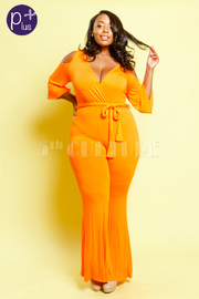Plus Size Surplice Tie Waist Cold Shoulder Flared Jumpsuit