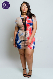 Plus Size Sliced Tie Up Eyelet Tie Dye Mini Dress