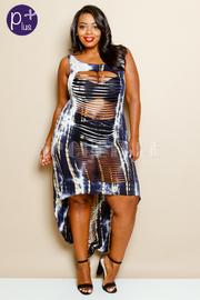 Plus Size Tie Dye Jersey Sliced Hi Lo Dress