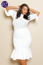 Plus Size Striped & Solid Mermaid Tube Maxi Flounce Dress