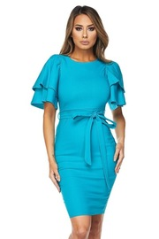 Ruffled Sleeved Bengaline Tie Bodycon Dress