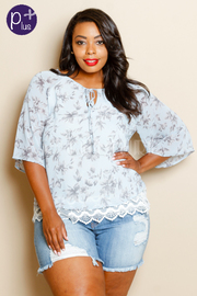 Plus Size Floral Embroidery Trim Loose Blouse