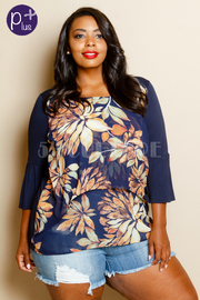 Plus Size 3/4 Sleeved Solid Floral Top