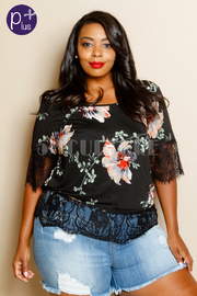 Plus Size Lacey Trim Floral Hawaiian Top