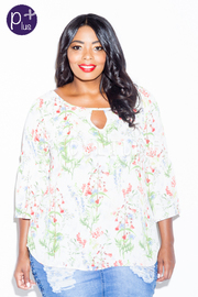 Plus Size 3/4 Sleeved Floral Printed Top