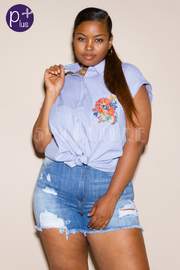 Plus Size Floral Side Short Sleeved Collar Shirt