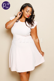 Plus Size Casual Solid Flared Dress