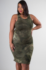 Plus Size Tie Dye Jersey Fit Dress