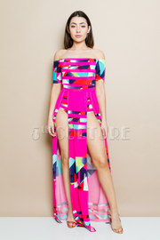 Off Shoulder Colorful Abstract Sexy Maxi Dress