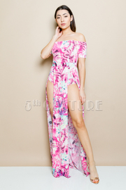Off Shoulder Mixed Printed Sexy Maxi Dress