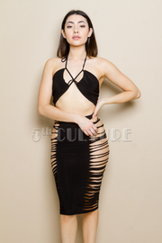 Sexy Club Night 2-Piece Sliced Side Pencil Skirt Set