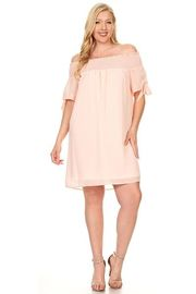 Plus Size Off Shoulder Smocked Sheer Tunic Dress