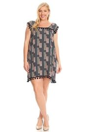 Plus Size Striped & Printed Tassel Combo Tunic Dress